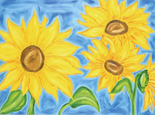 Oil painting 'Four sunflowers'