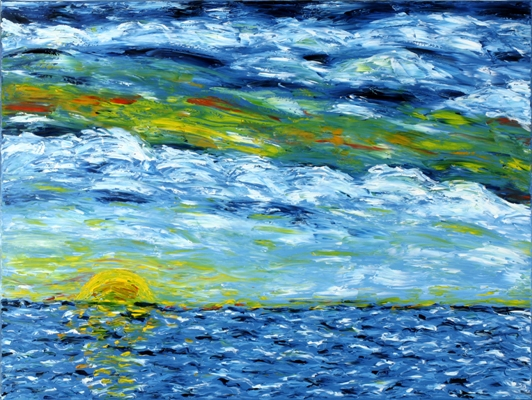 Oil painting 'Ocean view'