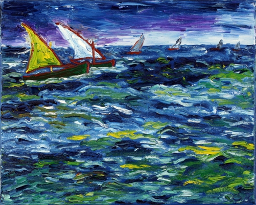 Oil painting 'Storm boats'
