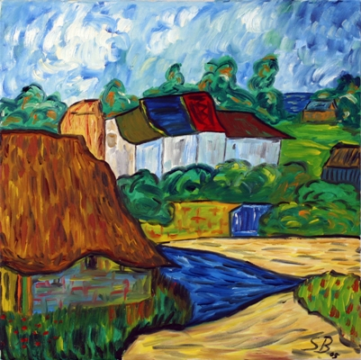 Oil painting 'Houses'