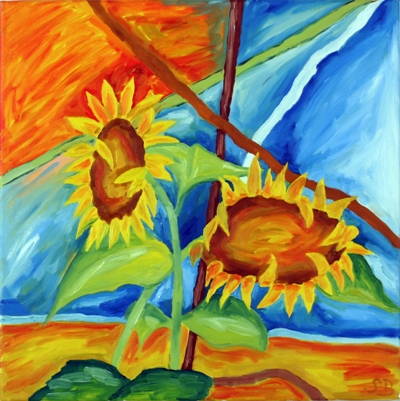 Oil painting 'Pair of sunflowers'