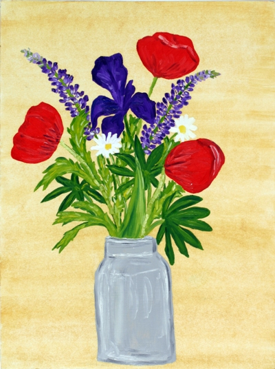 Oil painting 'Vase of flowers'