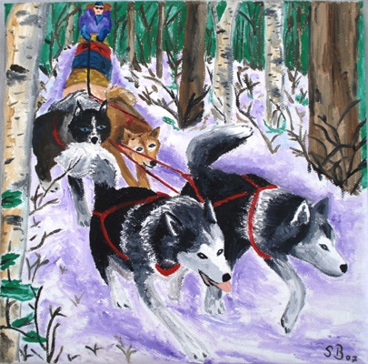 Oil painting 'Huskyteam'