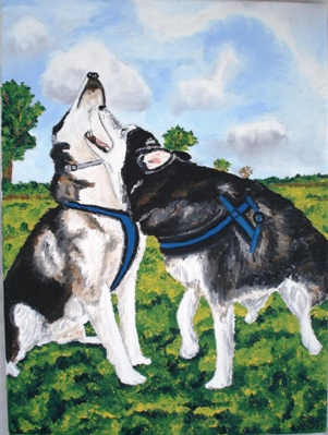 Oil painting 'Sharon with a friend'