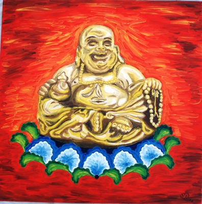 Oil painting 'Smiling Budda'