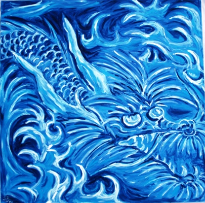 Oil painting 'The blue dragon'