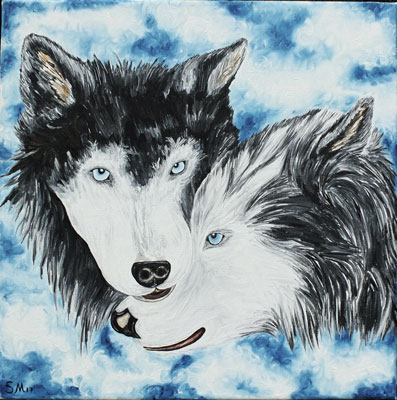 Oil painting 'Husky pair'