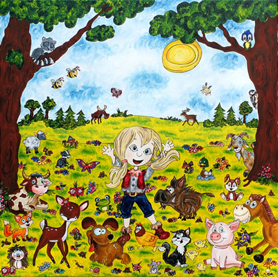 Oil painting 'With animals all is bedder'