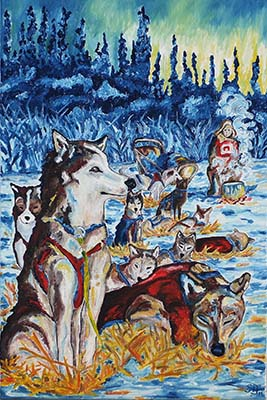 Oil painting 'Yukon Quest'