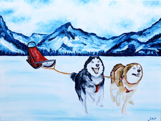 Oil painting - sleddogs
