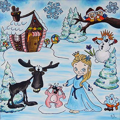 Oil painting 'The little Snow Queen'
