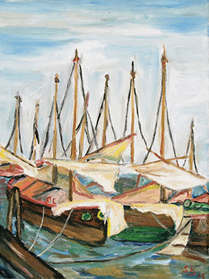 Oil painting 'Port idyll'